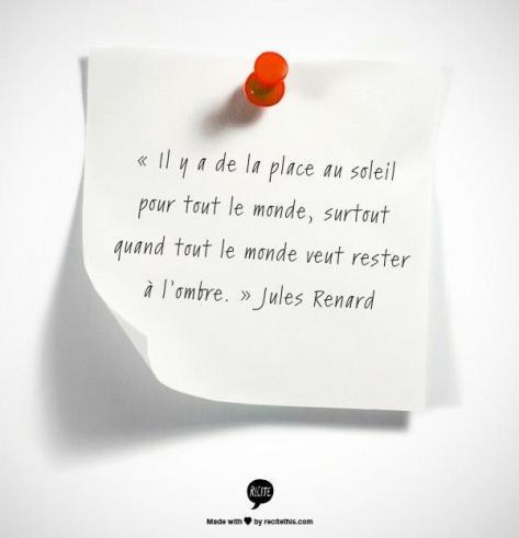 citation Jules Renard place au soleil