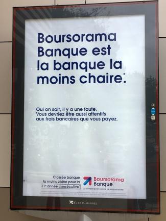 Boursorama Banque affiche campagne février 2019 la banque la moins chaire